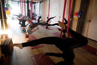 A women's fitness class at a centre that has opened in defiance of the national coronavirus lockdown rules.