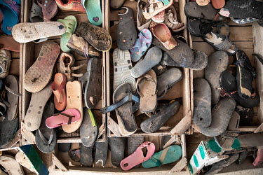 Sandals that artist and beachcomber Moshin Lihidheb has collected from the beaches around the town of Zarzis. In addition to messages, poems and love letters in bottles, he has also found many hundred...
