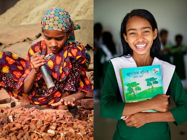 A child uses a heavy hammer to break old bricks at a crushing site (left), and the same girl after she stopped labouring in the factory and started to attend school.