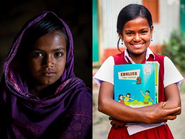 A child labourer (left) and the same girl after she stopped labouring and started to attend school.