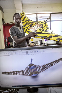 Olivier Nteziryayo in his workshop where he designs and builds drones.