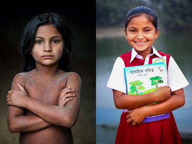 A child covered in dust from labouring in a grain mill (left) and the same girl after she stopped labouring and started to attend school.