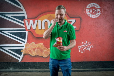Dutch entrepreneur, Thijs Boer, Founder of Hollanda Fairfoods, in his potato crisp factory. The crisps (chips) that are made there are branded Winnaz and are sold all over East Africa.
