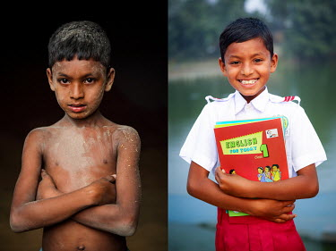 A child covered in dust from labouring in a grain mill (left) and the same boy after he stopped labouring and started to attend school.