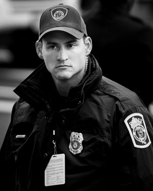 Police in uniform on duty during Trump's inauguration.