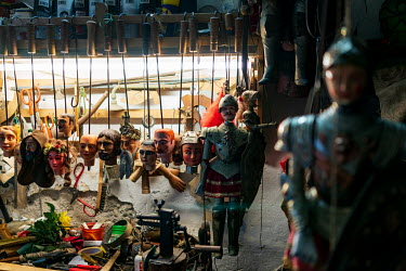 Sicilian 'Pupi' (String-puppets) hanging in a workshop.