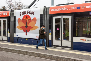 Advertising on a city tram, calling for the end to female genital mutilation (FGM), supported by UN Women and the EU.