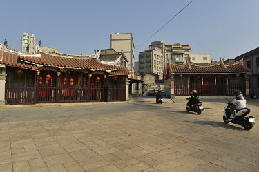 A cluster of ornate ancient temples in the centre of downtown Jincheng, the main settlement on Kinmen Island.