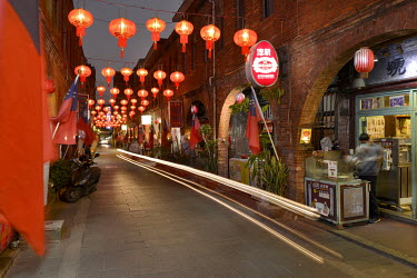 Lanterns illuminate the Old Street in Jincheng, Kinmen's main settlement. The street is a major tourist hot spot and also a place to find stores selling Island specialities.