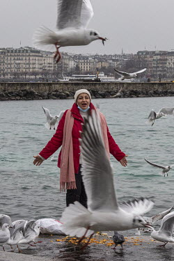 A woman feeds the seagulls and poses for photographs beside Lake Geneva.