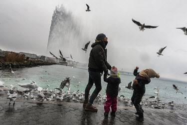 A man and his young sons throw bread to seagulls beside Lake Geneva on a winter day.