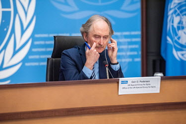 The UN's mediator for Syria, Olaf Pedersen, announcing failure at the end of a fifth round of UN-sponsored peace talks (the Syrian Constitutional Committee). 'We cannot continue like this', he stated...