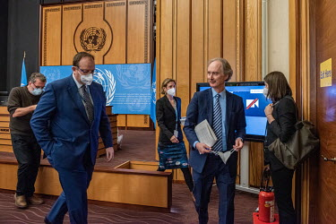 The UN's mediator for Syria, Olaf Pedersen, leaves a press conference where he had announced failure at the end of a fifth round of UN-sponsored peace talks (the Syrian Constitutional Committee). 'We...
