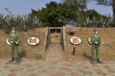Soldier mannequins outside a coastal defensive post on on Xiao (Little) Kinmen Island, which is now more a tourist attraction for those curious about the Cold War.  Following the retreat of Chiang Kai...