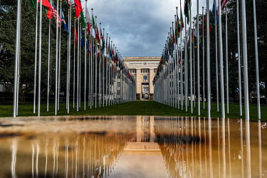 National flags outside the Unted Nations Office Geneva (UNOG), Palais des Nations.