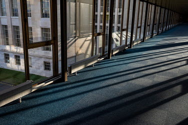 An empty walkway in the Unted Nations Office Geneva (UNOG), Palais des Nations.
