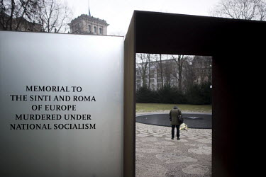 The Memorial to the Sinti and Roma of Europe Murdered under National Socialism near the Reichstag on Holocaust Memorial Day 2021.