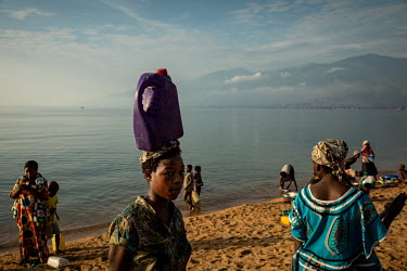 Women collecting water from Lake Tanganyika. For most of the people living around Uvira this is their only source of fresh water. A senior epidemiologist at the main health centre in Uvira has warned...