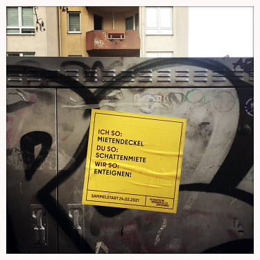 A sticker protesting the investors and property companies that are gentrifying the city.