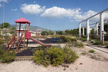 A disused children's playground at the site of the 2004 Athens Olympics athlete's village.