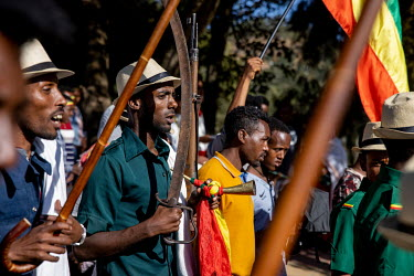 Armed men along the route of the Timkat procession, celebrating the baptism of Jesus and the Orthodox Epiphany. The official slogan for the 2021 celebrations was 'Ethiopia's Rebirth at Gondar's Timkat...