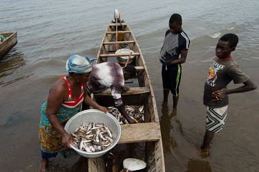 A fish vendor buying fish caught by fisherman Jonas Asideka (left) and crew Vincent Oletey (back) and his brother Noah after a fishing trip on Lake Volta.  Brothers Vincent (14) and Noah (12) spend up...