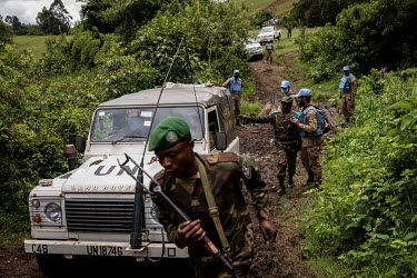 Pakistani MONUSCO peace keeping troops and their Congolese counterparts on patrol north-east of Minembwe, on the Haut Plateau.