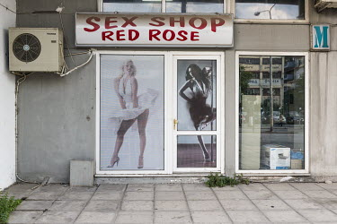 The Red Rose sex shop displaying a copy of the iconic Sam Shaw photograph of Marilyn Monroe.