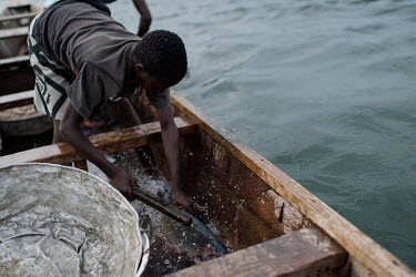Noah Oletey stunning a fish with a club to stop it jumping out of the canoe during a fishing voyage on Lake Volta.  Boat crew Vincent (14) and his brother Noah Oletey (12) spend up to six nights a wee...