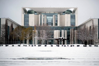 Exterior view of the Chancellery Office with snow inside the government quarter.