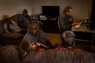 Aboriginal elders gather at the home of Maree Klesch to listen to old cultural recordings.