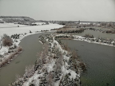 A winter landscape in a recreational area in the municipality of Stara Lysa which received a state subsidy from an EU Fund under the Operational Program Environment for the project 'Wetland' in 2009....