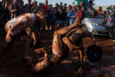 After the 'Wet T Shirt' competition, many of the men and some of the women start play fighting and wrestling in the mud at the Ariah Park Bachelor and Spinster ball.  Known to locals as simply B&S b...