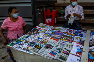 A news-stand in the city centre displaying newspapers many reporting the events surrounding the military coup.
