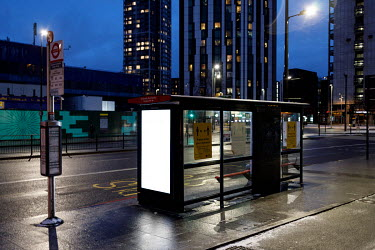 A bus stop in Elephant and Castle, during the 2021 COVID-19 lockdown.