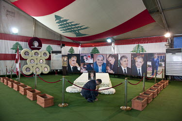 The burial place of former prime minister Rafic Hariri in a temporary hall in Martyrs Square.