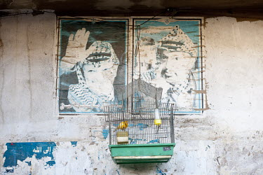 A canary sits in a cage, in the Shatila Palestinian refugee camp in west Beirut, hanging beneath faded posters featuring Yasser Arafat.