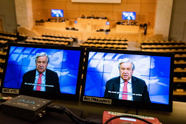 ''We need global coordinated action'', Antonio Guterres, Secretary General of the UN addressing, via video, the opening of 46th Session of the UN Human Rights Council, being held in almost completely...