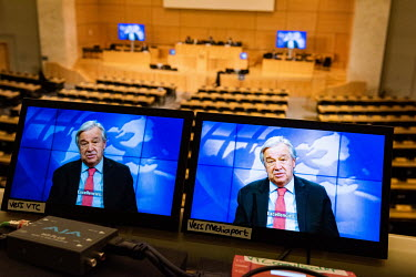 Antonio Guterres, Secretary General of the UN addressing, via video, the opening of 46th Session of the UN Human Rights Council, being held in almost completely virtual form due to COVID-19 in the lar...