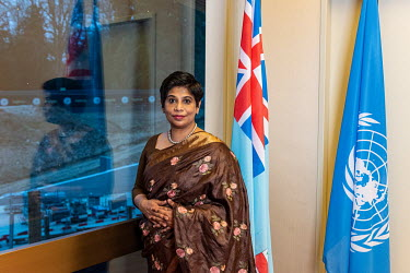Nazhat Shameem Khan, Permanent Representative of Fiji to the United Nations, and President of the United Nations Human Rights Council.