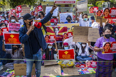 Students from the Meikhtila Economics University Alumnus group protest against the military coup, in front of the Chinese embassy where they repeatedly shout ''Hey mister (China China!), stop supporti...