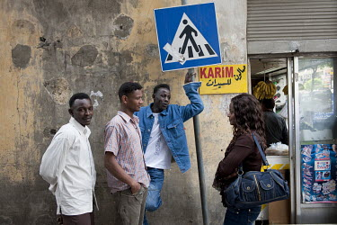 A group of African migrants in the Dora neighbourhood.