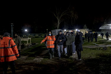 The body of a man who died of COVID-19 is brought for burial at the Muslim Patel Burial Trust cemetery in east London which is run by Supporting Humanity, a bereavement charity.