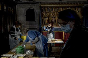 People working at a vaccination centre inside the Cathedral in Salisbury where around 1000 people are being vaccinated per day. People working at a vaccination centre inside the Cathedral in Salisbur...