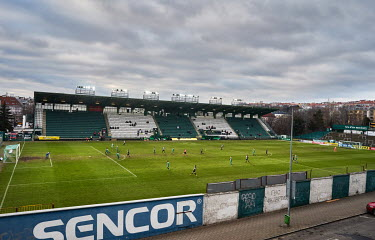 Bohemians and SK Dynamo play a match in the Czech First League at the�Bohemians�stadium. All stadiums are currently closed to fans due to the coronavirus lockdown.�