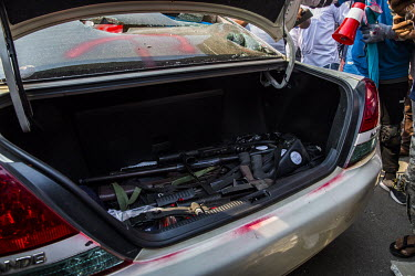 Weapons found by anti-coup protestors in the boot of a car carrying a group of police officers that was forced to stop after it tried to drive through the crowd. The police were detained by the protes...
