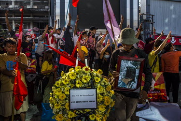 Protestors sing protest songs at a memorial to Mya Thwet Thwet Khaing, a young woman who was shot in the head by the security forces in Naypyitaw on 9 February 2021 and died in hospital ten days later...