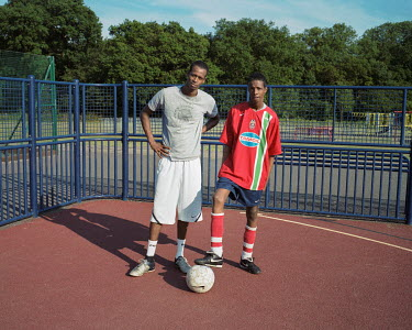 Abidar and Abdul playing football at Lambourne Road Recreation Ground, Chigwell.