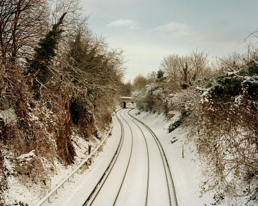 Snow covered train tracks in Colusdon.