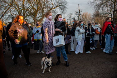 Hundreds of people attend a vigil for Sarah Everarde at the Bandstand on Clapham Common.